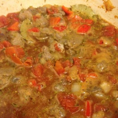 Simmering lamb stew