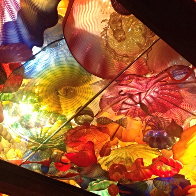 Glass artwork ceiling